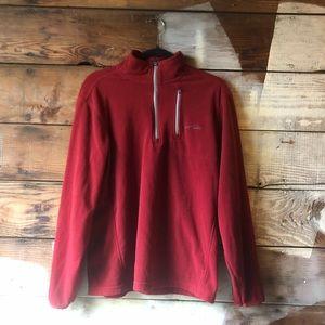 Eddie Bauer Red and Grey Quarter Zip Fleece Medium